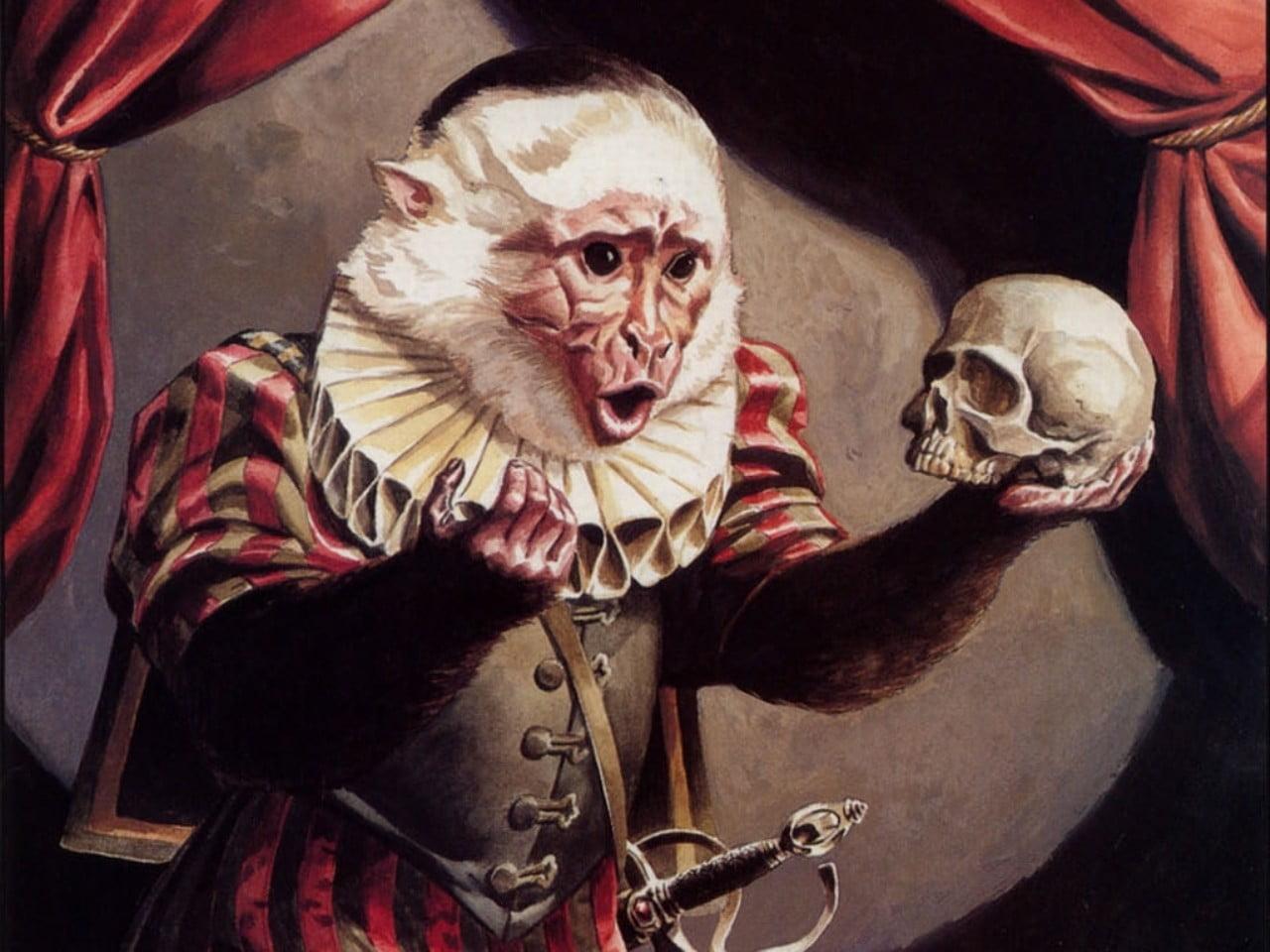 monkey-hamlet-skull-holding-wallpaper